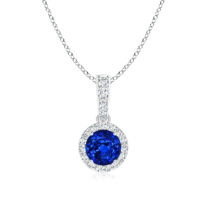 Angara 4mm Diamond Halo Sapphire Dangle Pendant in Platinum oVv6t7Z