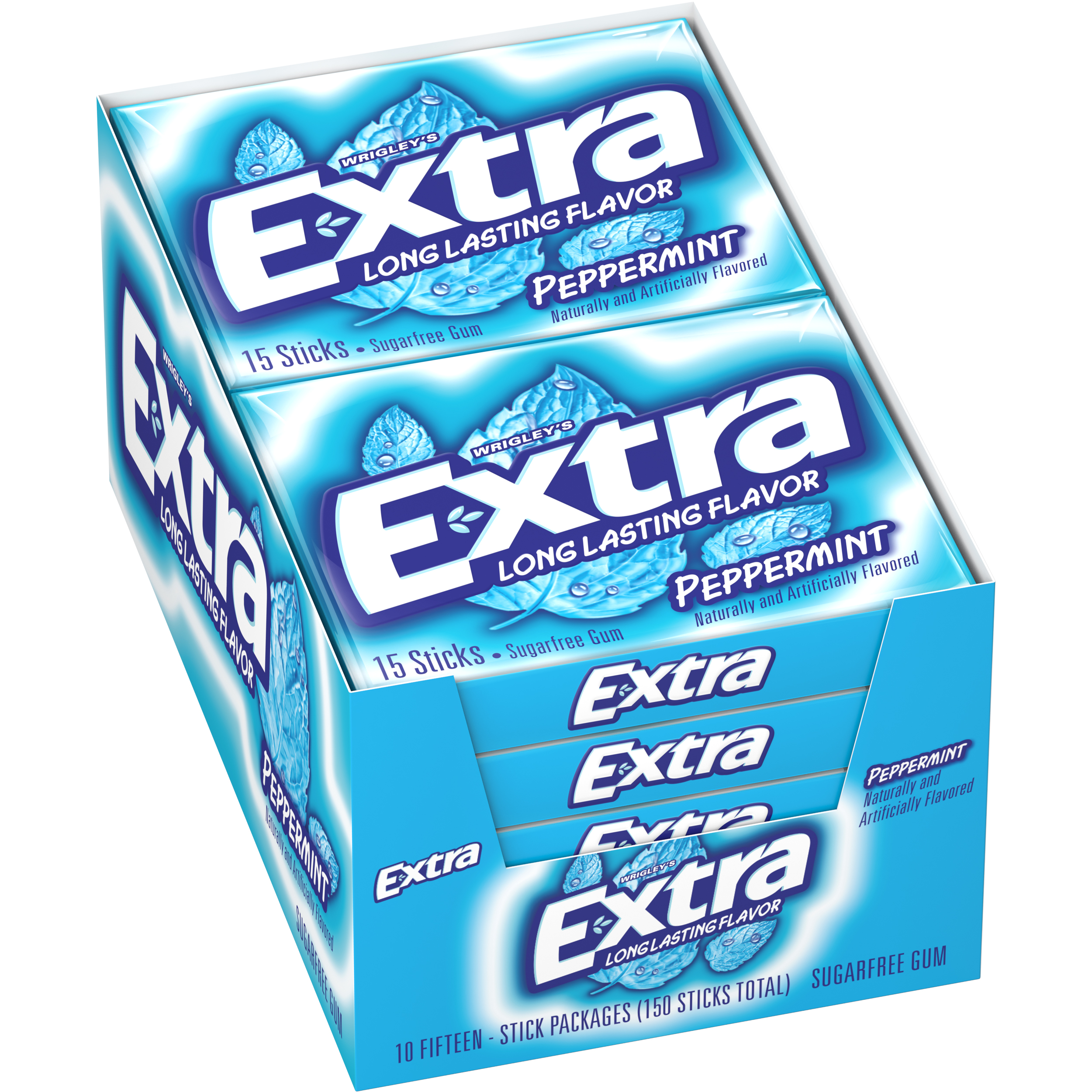 Extra, sugar free peppermint chewing gum, 10 ct