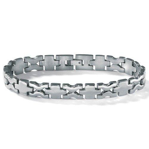 Palm Beach Jewelry Stainless Steel Men's Cross-Link Bracelet