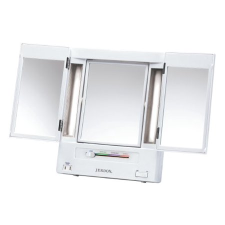 Jerdon Tri-Fold Two-Sided Lighted Makeup Mirror with 5x Magnification, White - Jerdon Lighted Makeup Mirror
