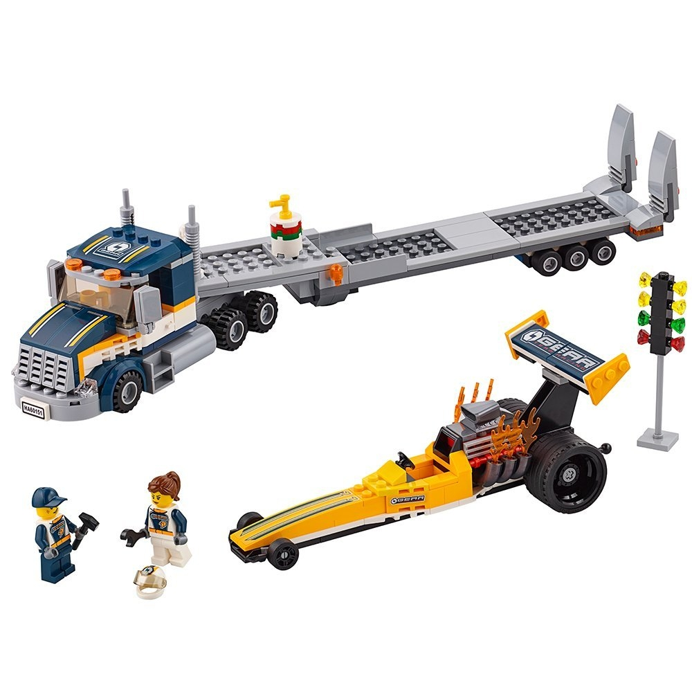Lego City Great Vehicles Dragster Transporter 60151 Build...
