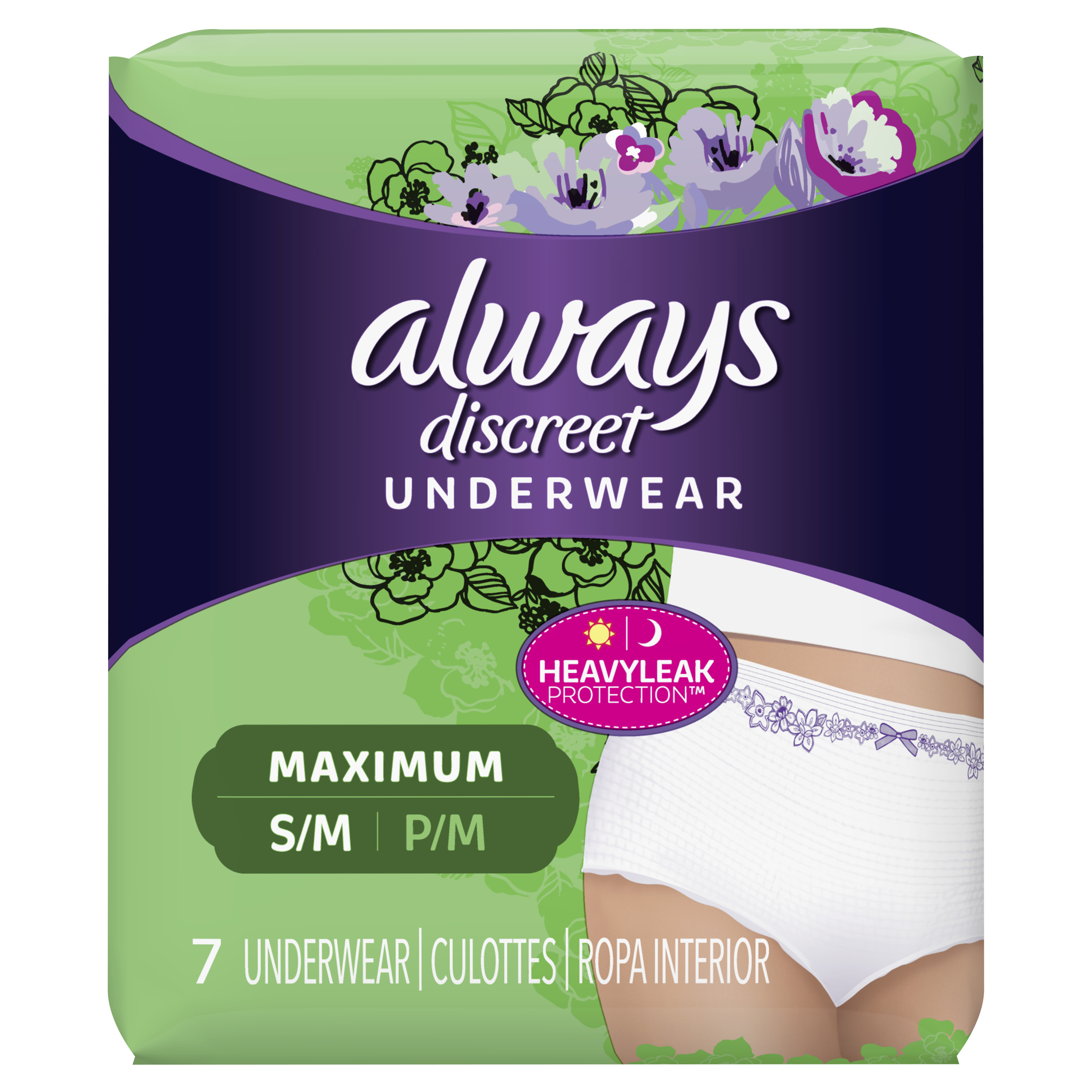 Always Discreet, Incontinence Underwear for Women, Maximum Protection, Small / Medium, 7 Count