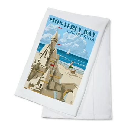 Monterey Bay  California   Sandcastle   Lantern Press Poster  100  Cotton Kitchen Towel