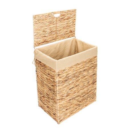 folding water hyacinth laundry basket wood color. Black Bedroom Furniture Sets. Home Design Ideas