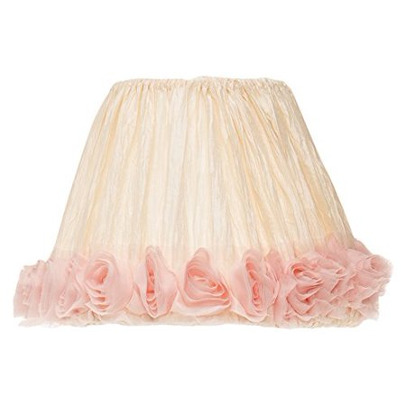 Glenna Jean Victoria Lamp Shade Only, Cream Crinkle/Pink Roses, 9