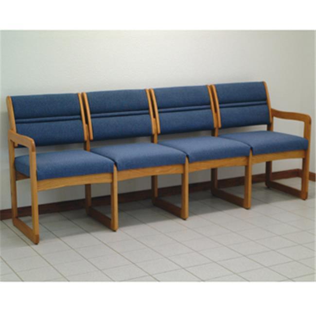 Wooden Mallet DW2-4DMOLB Valley Four Seat Sofa in Medium Oak - Leaf Blue