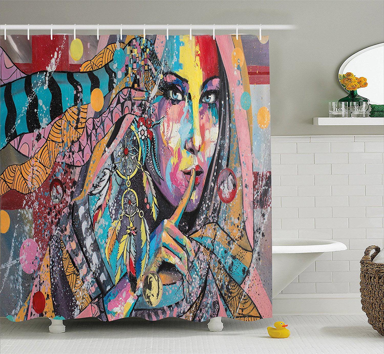 Modern Art Home Decor Shower Curtain by , Sexy Talisman G...