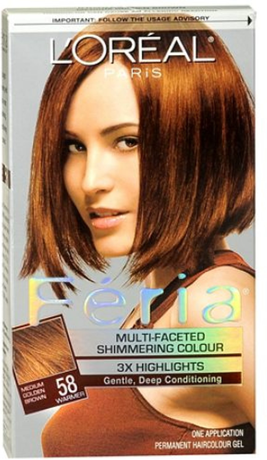 Loreal Feria Permanent Haircolor Gel 58 Bronze Shimmer Medium
