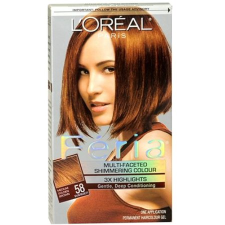 L Oreal Feria Permanent Haircolor Gel 58 Bronze Shimmer Medium Golden Brown