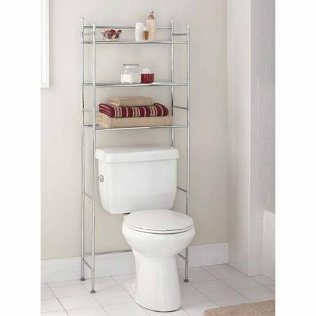 mainstays 3 shelf bathroom space saver chrome finish. Black Bedroom Furniture Sets. Home Design Ideas