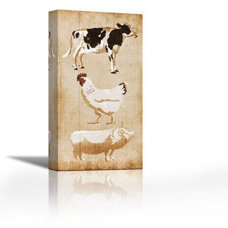 Farm Animals - Contemporary Fine Art Giclee on Canvas Gallery Wrap - wall décor - Art painting - 14 x 27 Inch - Ready to Hang