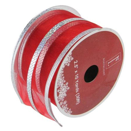 (Dazzling Red and Silver Metallic Stripe Wired Christmas Craft Ribbon 2.5