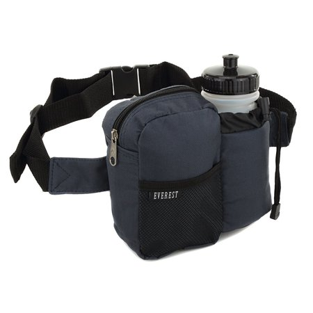 Premium Fanny Waist Lumbar Pack with Water Bottle Holder Hiking Climbing Walking Outdoors by Everest, Includes 2 Everest Squeeze Bottles (Single Blue) ()