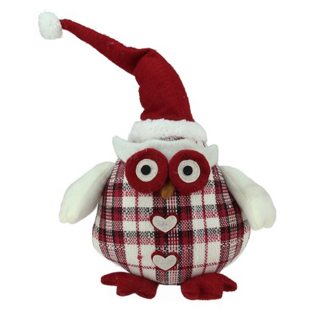 Northlight Chubby Plaid Owl with Santa Hat and Heart Buttons Table Top Christmas (Sanwa Button)