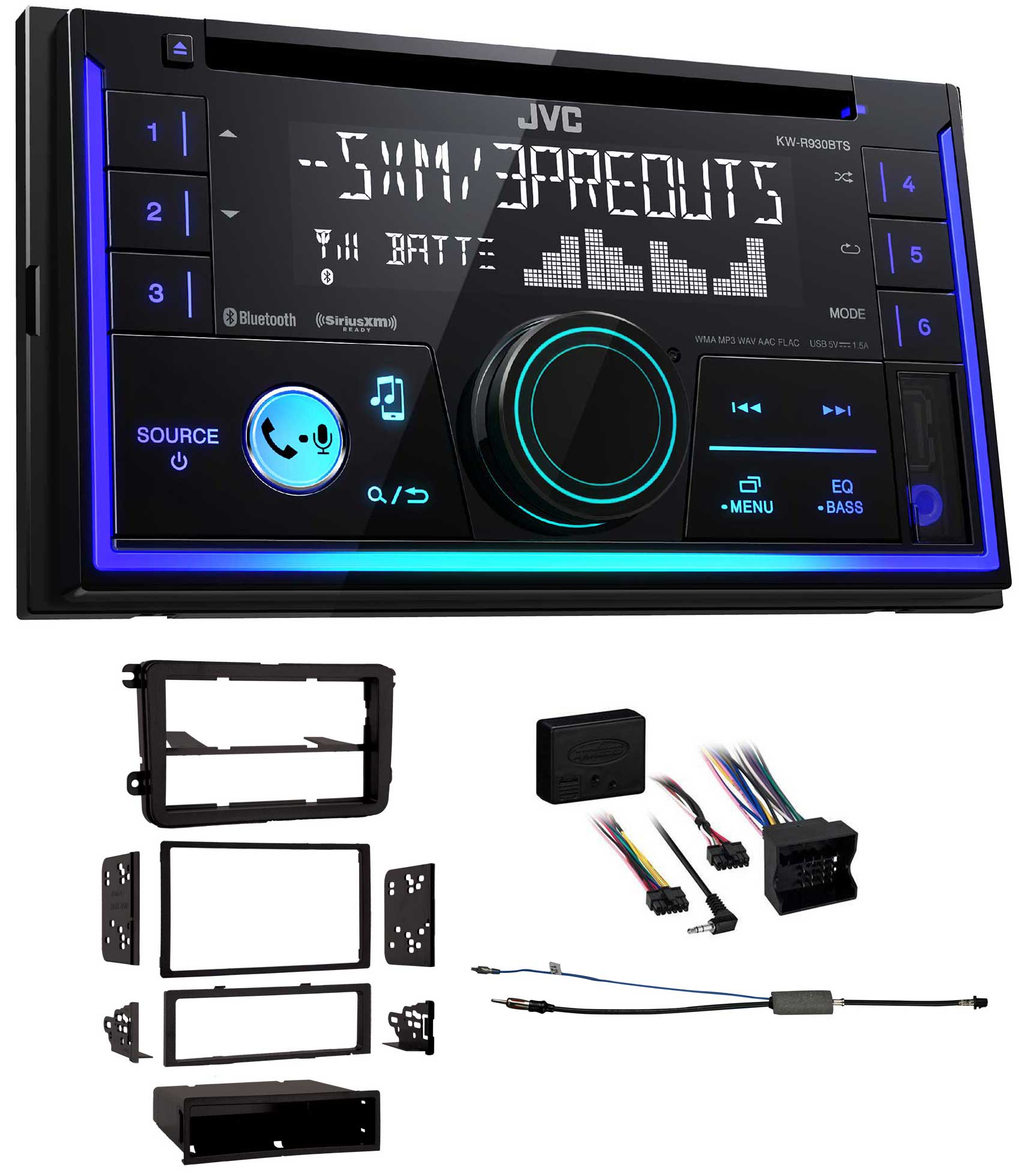 JVC KW-R930BTS 2-Din In-Dash Car Stereo CD Player w Bluetooth USB iPhone Sirius by JVC