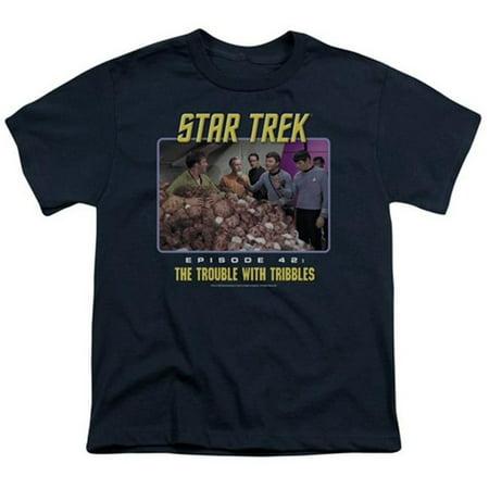Star Trek Men's  The Trouble With Tribbles T-shirt Blue (Star Trek Blue Shirts)