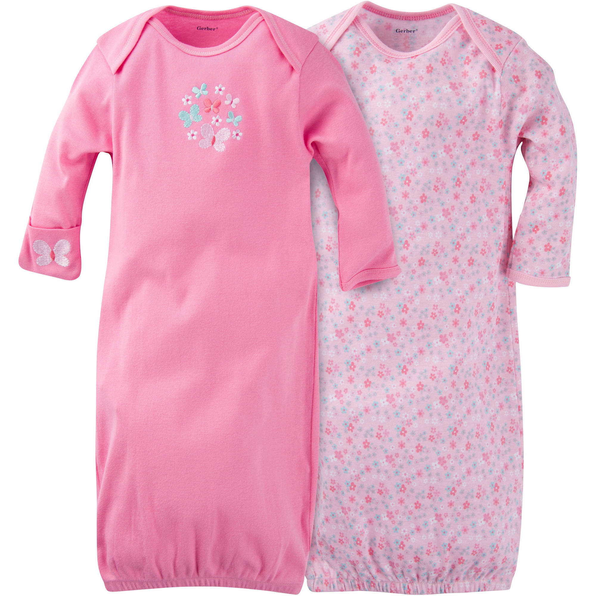 Gerber Newborn Baby Girl Lap Shoulder Gowns, 2-Pack