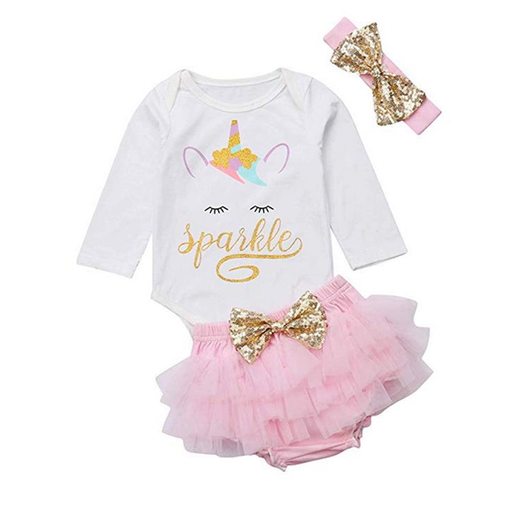 579b1b29ee Newborn Baby Girls Unicorn Romper Outfit + Tutu Skirt Dress + Headband  Clothing