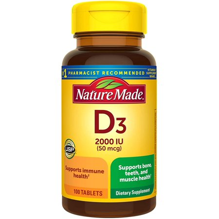 Nature Made Vitamin D3 2000 IU (50 mcg) Tablets, 100 Count Bonus Bottle for Bone Health (Packaging May Vary)
