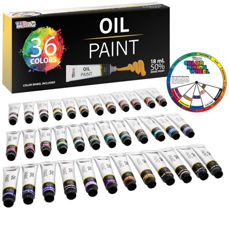 U.S. Art Supply Professional 36 Color Set of Art Oil Paint in Large 18ml Tubes - Rich Vivid Colors for Artists,