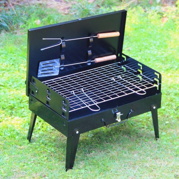 Folding Picnic BBQ Grill Adjustable Portable Outdoor Cooking Tool Black