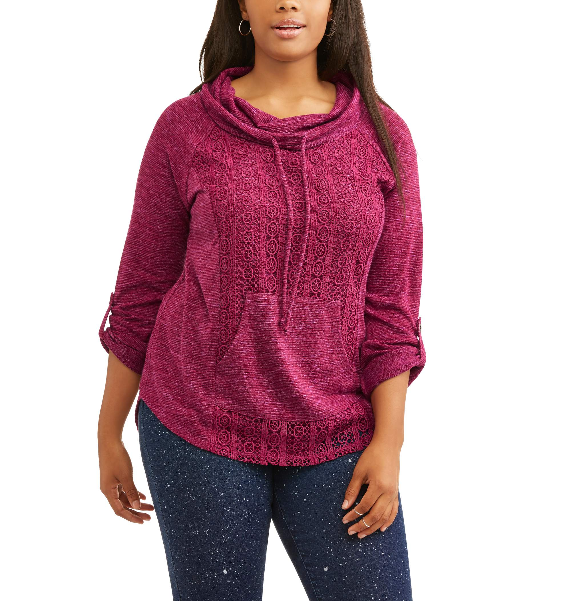 Juniors' Plus Lace Overlay Cowl Neck Pullover