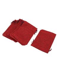 Unique Bargains Home Cotton Linen Sundries Pen Eraser Eyeglasses Holder Drawstring Bag Burgundy 20 Pcs