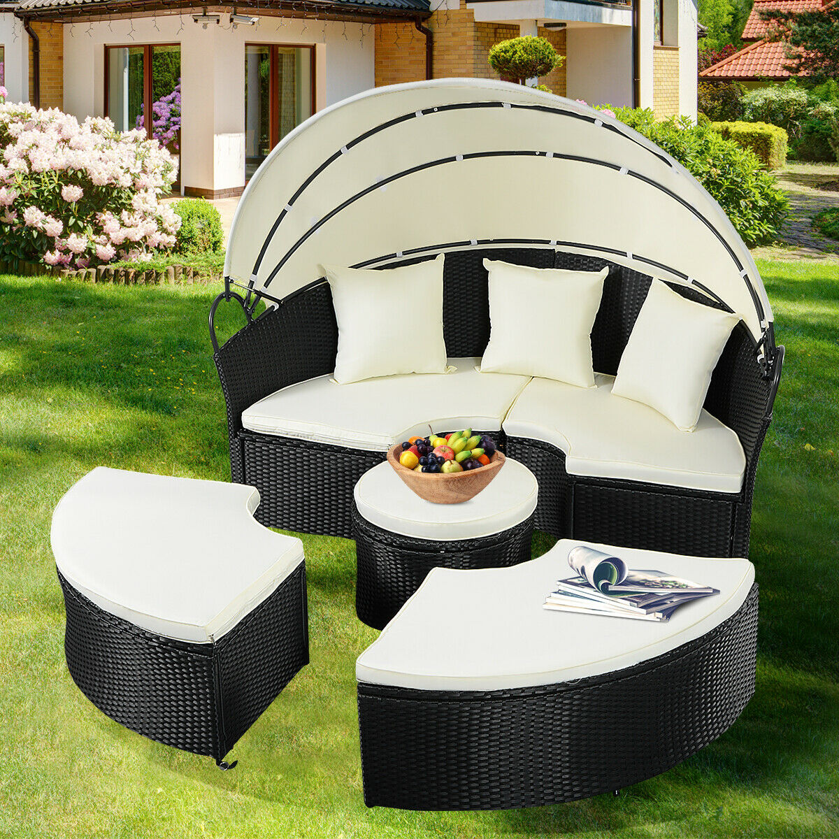 Gymax Rattan Wicker Round Retractable Canopy Daybed Sofa Furniture Set Outdoor Patio - image 8 of 9
