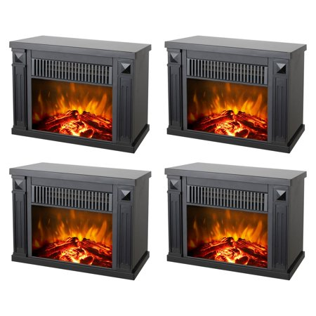 Faux Tabletops - Konwin Small Electric Tabletop Artificial Faux Fireplace Space Heater (4 Pack)