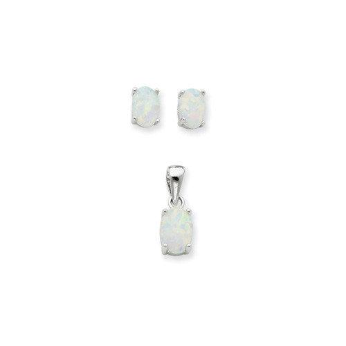 Jewelryweb Sterling Silver Opal Pendant and Earrings Set