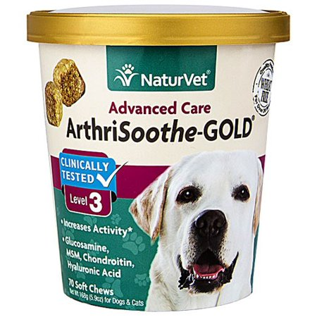 Naturvet Glucosamine (NaturVet ArthriSoothe-GOLD Level 3, MSM and Glucosamine for Dogs and Cats, Advanced Joint Care Support Supplement with Chondroitin and Omega 3, Clinically Tested, 70 Soft Chews )