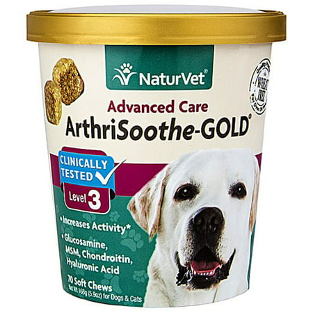 NaturVet ArthriSoothe-GOLD Level 3, MSM and Glucosamine for Dogs and Cats, Advanced Joint Care Support Supplement with Chondroitin and Omega 3, Clinically Tested, 70 Soft