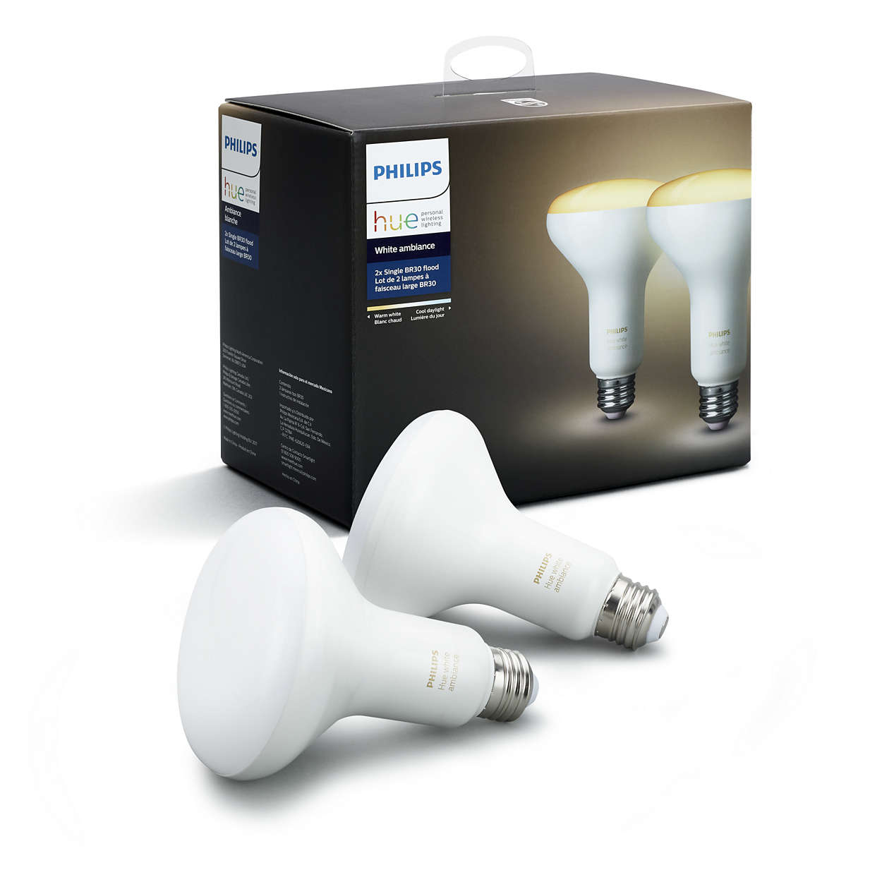 Philips Hue White Ambiance Smart BR30 Light Bulb, 65W Equivalent, Hub Required, 2 Bulbs