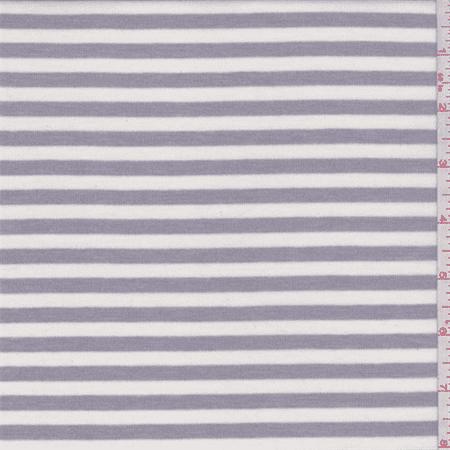 Stripe Stretch Knit (White/Silver Grey Stripe Jersey Knit, Fabric By the)