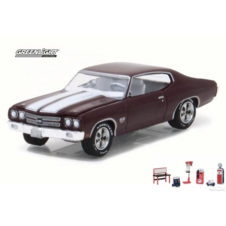 Diecast Car   Chevron Shop Tools Package   1970 Chevrolet Chevelle Ss 454  Black Cherry   Greenlight 13190C 48   1 64 Scale Diecast Model Toy Car W Chevron Shop Tools