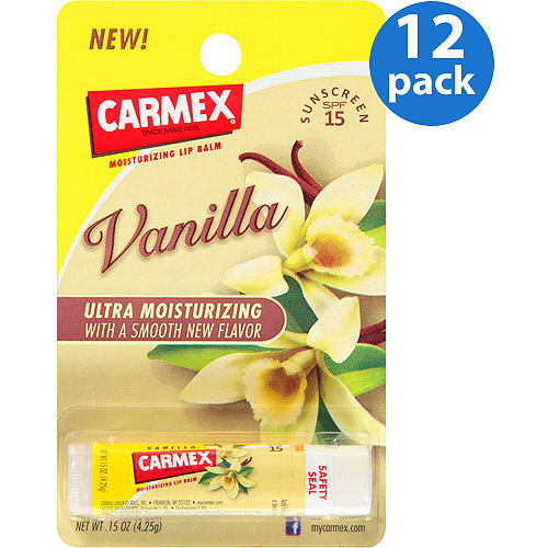 Carmex Vanilla Flavor SPF 15 Moisturizing Lip Balm Stick, 0.15 oz (Pack of 12)