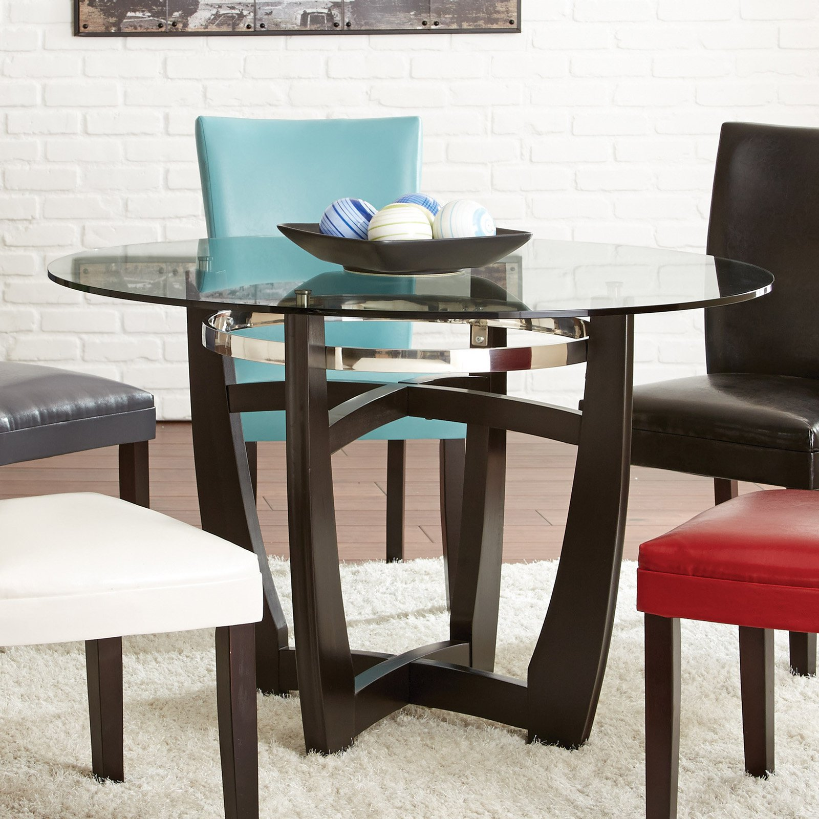 Steve Silver Matinee Round Glass Top Dining Table