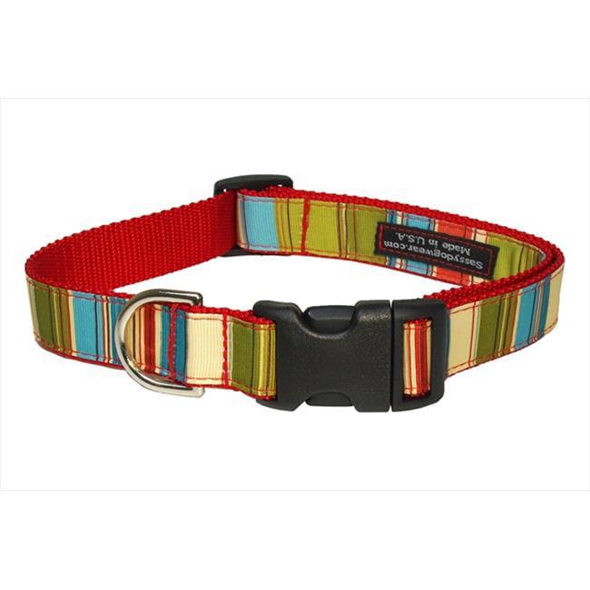 Sassy Dog Wear STRIPE-GREEN-MULTI4-C Multi Stripe Dog Collar, Green - Large - image 1 of 1