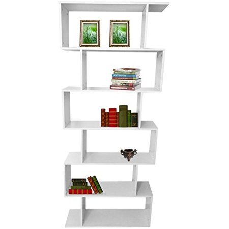 "Estink 6-Tier Bookshelf,75.6"" Tall Wooden Bookcase Storage Unit Modern Display Shelf Cabinet Room Divider Furniture for Home and Office,White"
