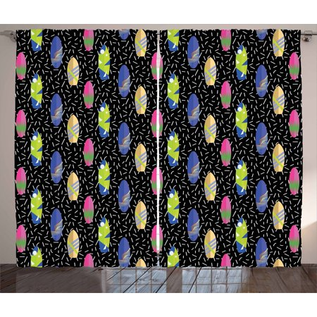 Surfboard Curtains 2 Panels Set, Colorful Boards in Memphis 80s Retro Style Abstract Summer Themed Fun Pattern, Window Drapes for Living Room Bedroom, 108W X 63L Inches, Multicolor, by Ambesonne