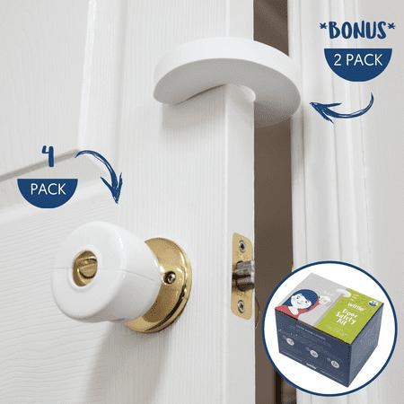 Wittle Door Safety for Kids | 4 Door Knob Covers & 2 Finger Pinch Guards | Child Proof Door Lock and Baby Door (Door Guard Lock)