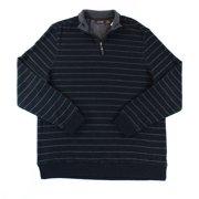 Tasso Elba NEW Black Mens Medium M Striped Quarter Zip Mock Neck Sweater