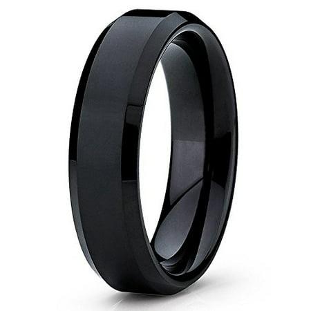 3ab2956227c13 Tungsten Wedding Band 6mm Black Tungsten Ring Tungsten Carbide Ring Beveled  Shiny Polish Men & Women Comfort Fit