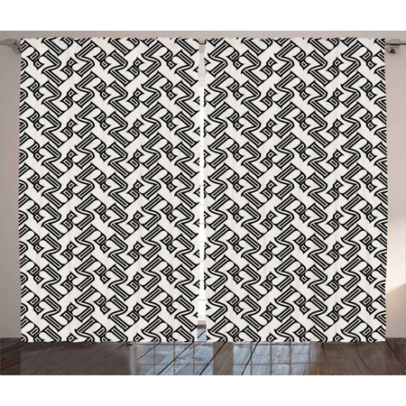 Abstract Curtains 2 Panels Set, Linear Grid from Striped Elements Geometric Monochrome Elements Pattern, Window Drapes for Living Room Bedroom, 108W X 108L Inches, Black and Pale Grey, by Ambesonne