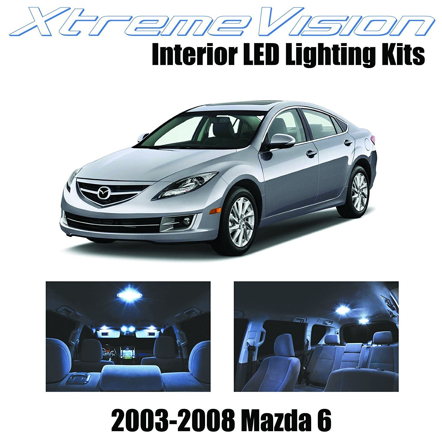 XtremeVision LED for Mazda 6 2003-2008 (8 Pieces) Cool White Premium Interior LED Kit Package +Installation Tool