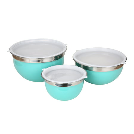 Mainstays Teal Stainless Steel Mixing Bowl Set, 6 Piece