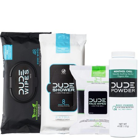 - DUDE Wipes Flushable (48ct) DUDE Shower Body Wipes (8ct) DUDE Face Wipes (30ct) & DUDE Body Powder Menthol Chill (1 Bottle) - Head to Toe Ultimate DUDE Combo