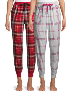 Secret Treasures Women's and Women's Plus Flannel Pajama Joggers, 2-Pack
