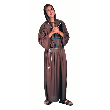 Brown Monk Robe Mens Religious Friar Oblate Halloween Costume-STD - Religious Robes