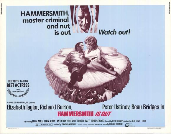 HAMMERSMITH IS OUT 1972 Peter Ustinov Elizabeth Taylor Cinema Poster Art